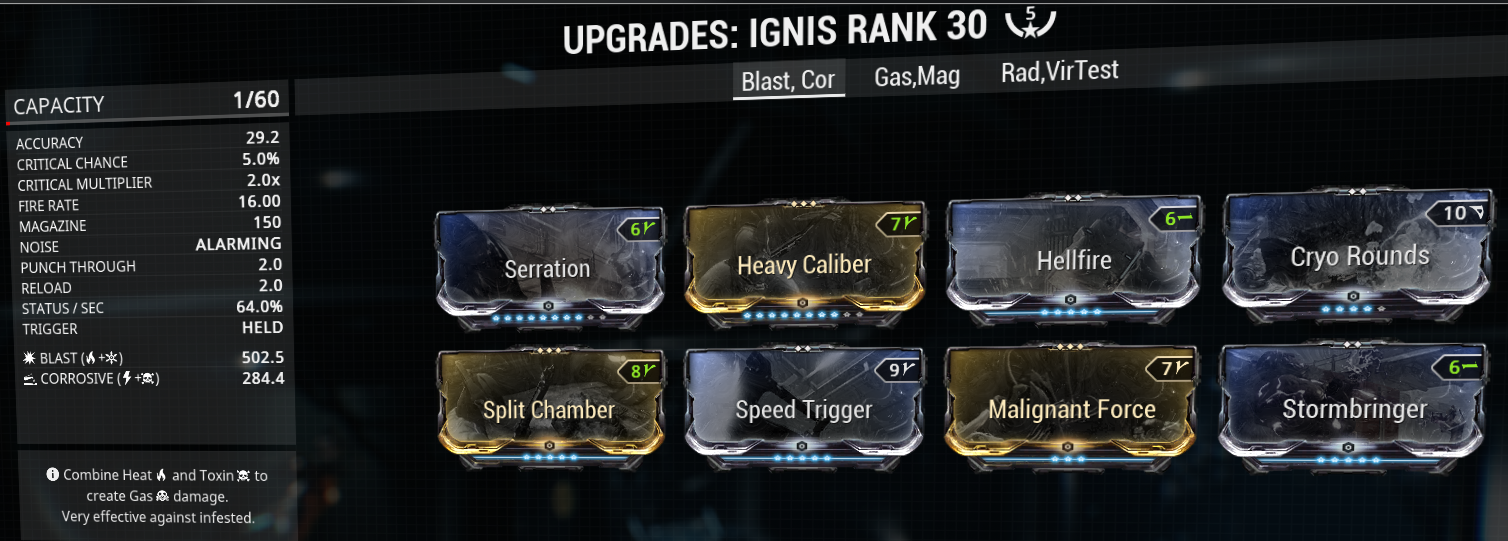 This is my ignis infested melter build and mod-setup