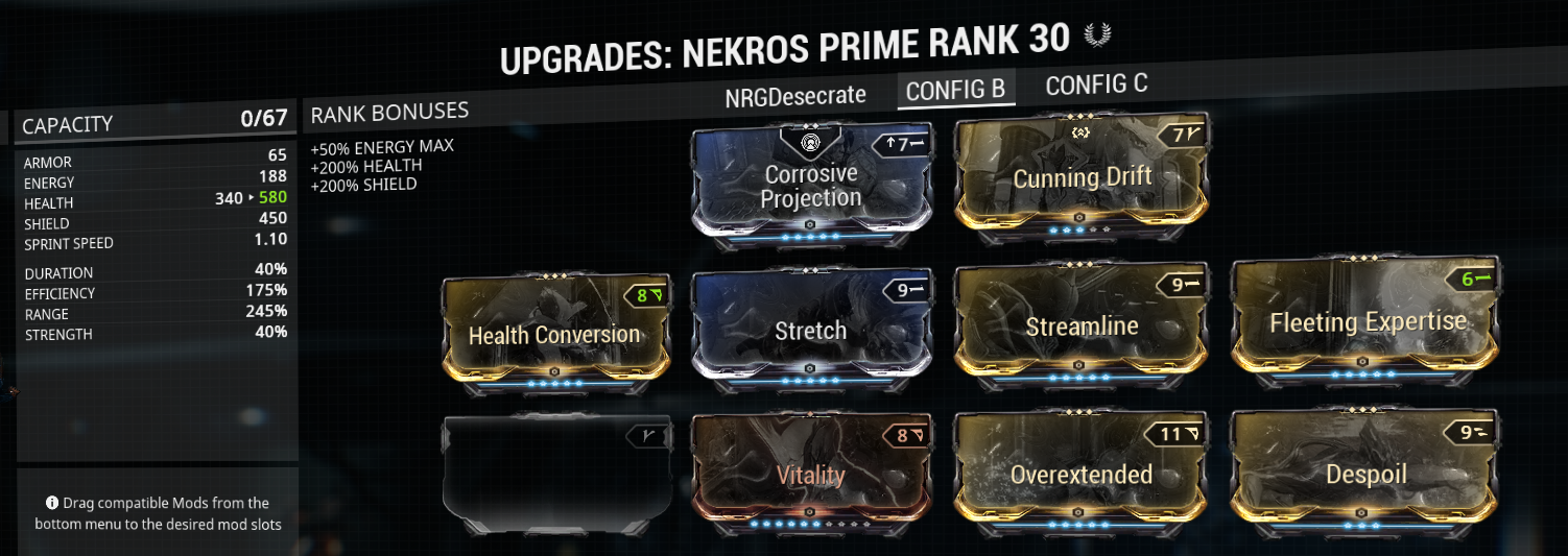Despoil health nekros build
