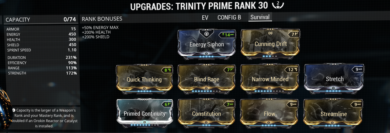 Tank-Survivability trinity build example